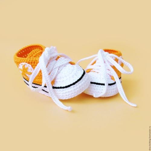 Оранжевые вязаные детские кеды
